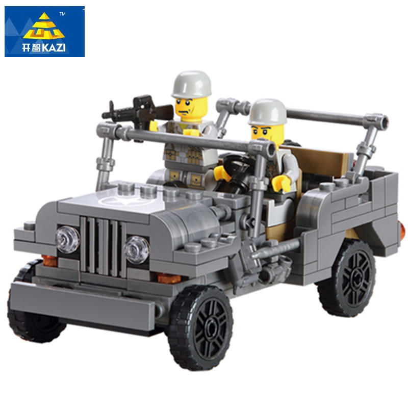 KAZI 199Pcs Military US Army Willys MB Jeep Airborne World War Classic Model Building Blocks Playmobil Toys for Children