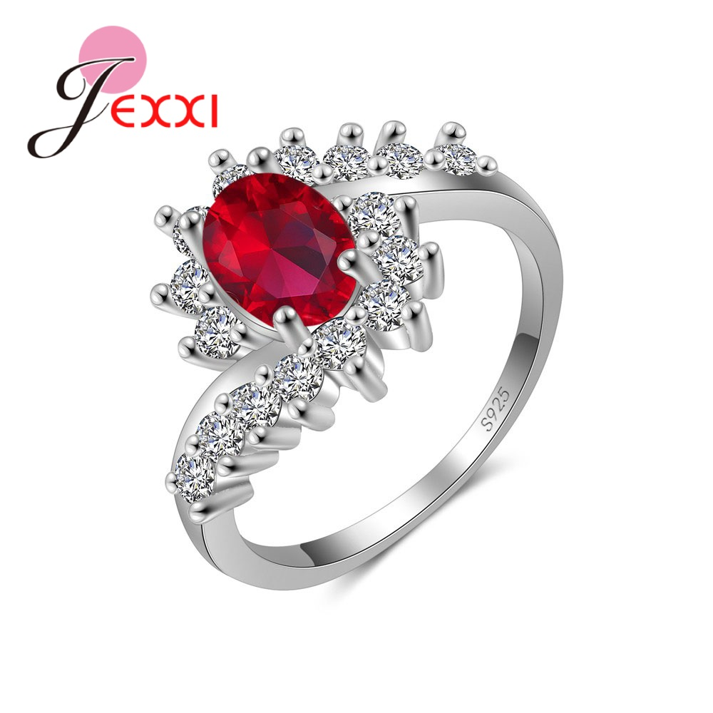 Noble Symbol Fashion Romantic 925 Sterling Silver Rings With 4 Colors CZ Clear Crystal For Women Girl Fingers Jewelry