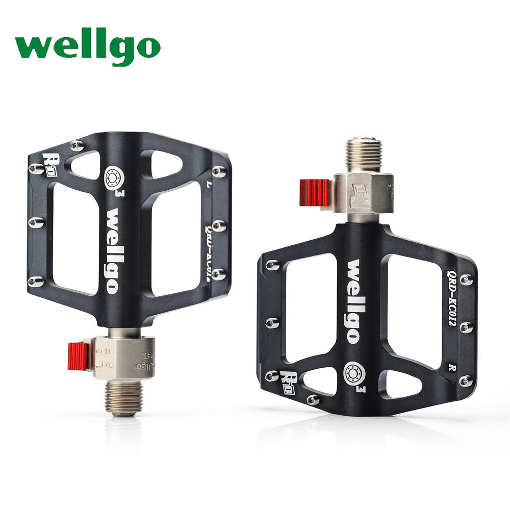 wellgo QR KC012 bicycle pedal quick release MTB mountain bike pedals ultralight 338g 3 sealed bearing ultrathin antiskid nail ultralight bearing hubs mtb mountain bicycle hubs 32 holes 4 bearing quick release lever mountain bike disc brake parts 4colors