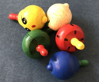 10pcs children wooden spinning top toys/ Kids baby cartoon fruite clown Mini wood spining top, free shipping