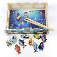 Edukacyjne dla dzieci drewniane zabawki magnetyczne rybackich zabawka dla kota połowów gry zabawy interakcji rodzic-dziecko Puzzle Zabawki Planszowe