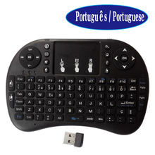 Portuguese keys i8 mini keyboard touchpad 2.4g sky wireless remote control similar as MX3 air mouse for android tv box mini PC(China)