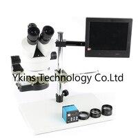 Непрерывный зум бинокулярного видения вращения 3.5X 90X Тринокулярный Стерео микроскоп + 14MP HDMI USB промышленной камеры + 144LED + 8 L