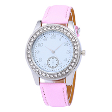 Fashion Women watches Crystal Stainless steel dial Watch Analog Leather Quartz Watch Clock brand ladies watch Wear accessories