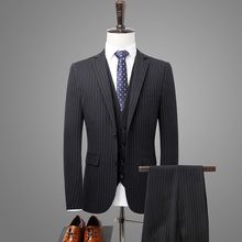 Suit 3-piece suit (coat + pants vest) mens business casual striped wear slim wedding dress banquet