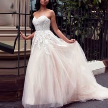 ラインレースアップバックウェディングドレス デノビアプラスサイズ Vestido の恋人ノースリーブレースアップリケウェディングドレス