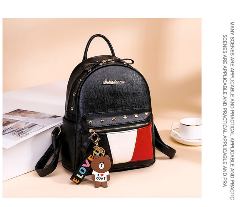 2019 Women Preppy Style Panelled Color Print Backpack Black Studded PU Faux Leather School Bag Small Fashion Rivet Travel Pack (31)
