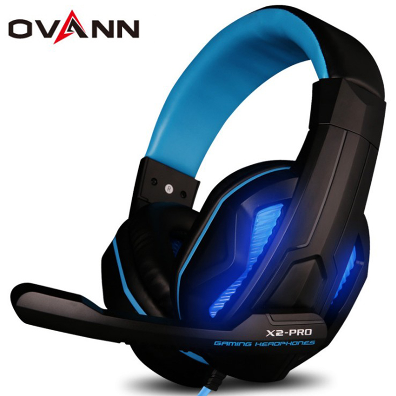 Ovann X2 PRO Professional Gaming Headset Over-ear Headphone Earphones Headband with Mic Bass 3.5mm LED Light for Computer Laptop