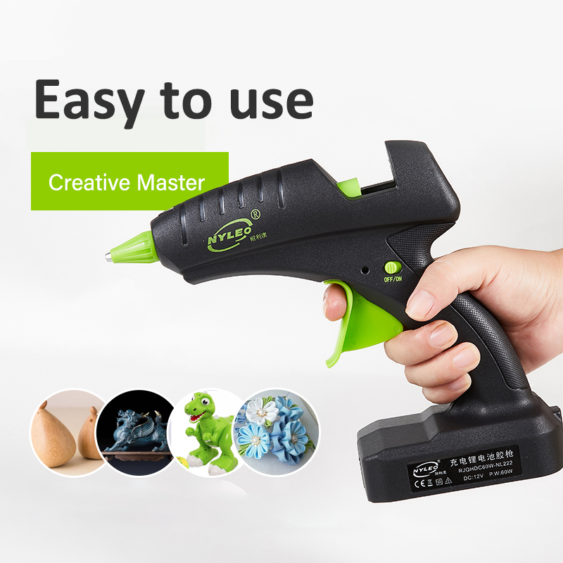 60W 12V Cordless Hot Glue Gun Rechargeable Electric Heating Tool with lithium Battery 2000mAh for DIY