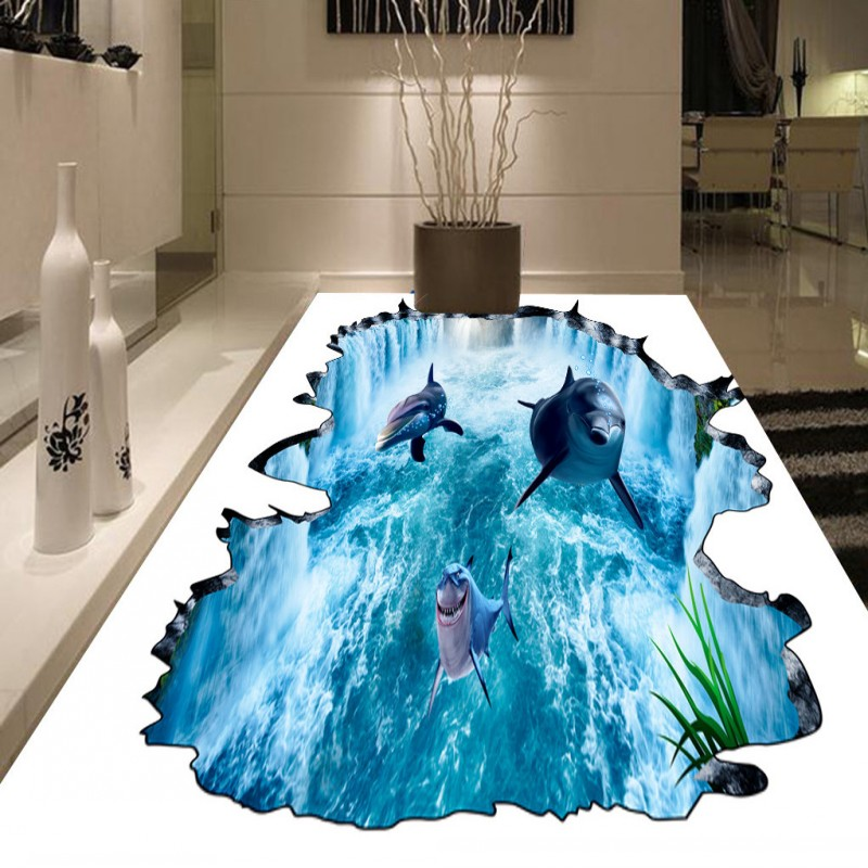 ФОТО Free Shipping 3D Waterfall Dolphin Water flooring painting square balcony decorative self-adhesive floor mural