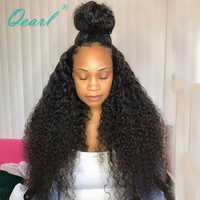 Qearl Kinky Afro Curly 360 Lace Frontal Wigs 200% Thick Density Brazilian Remy Human HAir Wig Pre Plucked natural hairline women