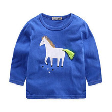 Blue Horse Kids Clothes Children Boys T shirt Baby T-shirts Long Sleeve Tees Clothing Tops T-shirt Costumes Baby Cloth Autumn