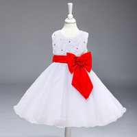 Retail New Big Bow Belt First Communication Dresses 9 Colors Dress For Kids Girl Pageant Dresses
