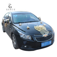 Genie Artificial Flowers Wedding Car Decoration Set Tulle Bowknot Foam Rose Gold Theme Wedding Event Supplies