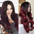 Body Wave Synthetic lace front wig glueless burgundy ombre heat resistant synthetic lace front wig for black women red wave wig