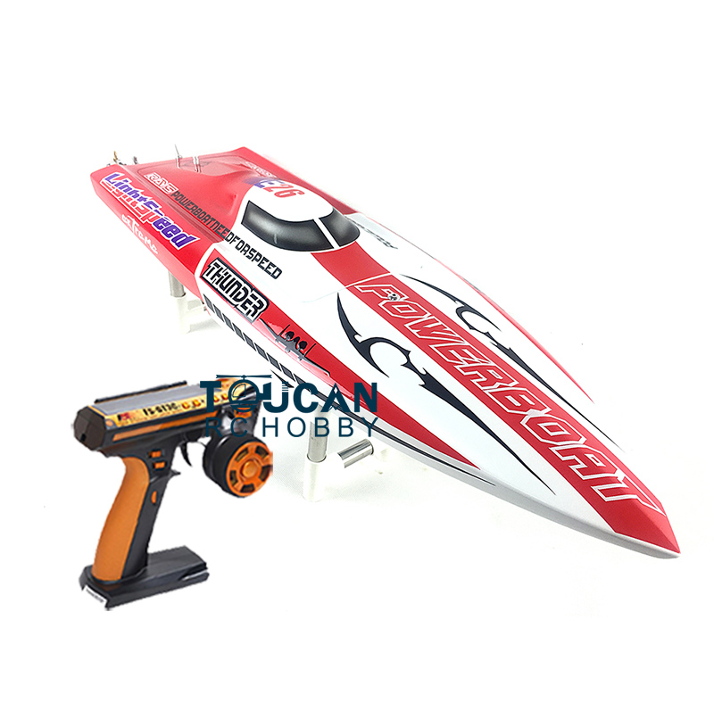 E26 RTR Thunder Fiber Glass Electric Racing Speed Boat W/2550KV Brushless Motor/90A ESC/Remote Control Deep Vee Boat Red e22 rtr tiger teeth fiber glass racing speed boat w 2550kv brushless motor 90a esc remote control catamaran rc boat blue