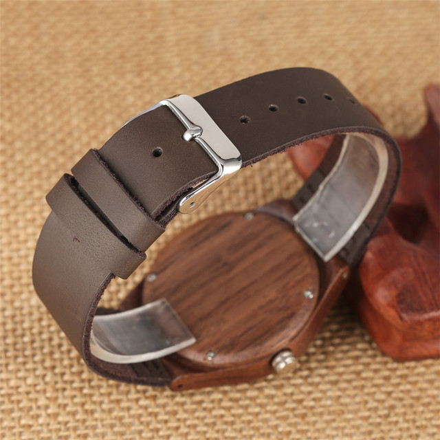 Coffee Brown Lovers Wood Watch Creative Arts Hollow Couple Timepiece Casual Men's Genuine Leather Watches Lady Wristwatches Gift 4