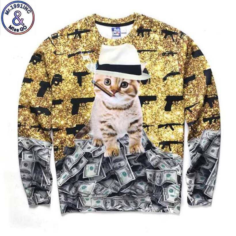 Mr.1991 teenage fashion Kitten/dollar 3D hoodies boys teens Spring Autumn thin sweatshirts for girls big kids hoodie W43