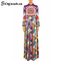 SOPAKA High Quality 2017 Autumn Latest Long Flare Sleeve Geometric Floral Printed Mix Color Runway Designer