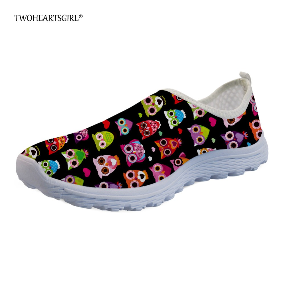 Twoheartsgirl Cute Cartoon Owl Mesh Shoes Spring Summer Casual Flats for Women Breathable Female Ladies Beach Shoes Sneakers instantarts cute glasses cat kitty print women flats shoes fashion comfortable mesh shoes casual spring sneakers for teens girls
