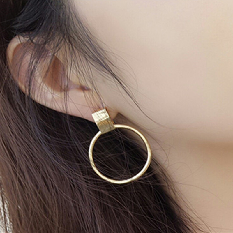 Hot Selling Punk Metal Earrings Fashion Jewelry 2018 Gold Color Big Round Earrings For Women Girls Boucle Doreille Femme Gifts