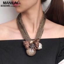 MANILAI большой искусственный жемчуг кулоны ожерелья для женщин хрустальные бусины шар Цветок себе ожерелье ювелирные изделия ручной работы чокер