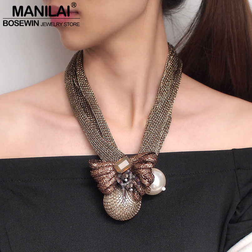 MANILAI Big Simulated Pearl Pendants Necklaces For Women Crystal Beads Ball Flower Statement Necklace Jewelry Handmade Choker