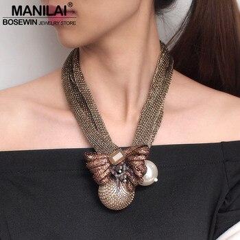 MANILAI gran perla simulada colgantes collares para mujeres cuentas de cristal bola de la flor collar de la Declaración, joyería hecha a mano, collar
