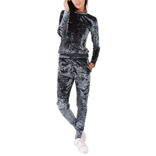 New Women OutWear Crushed Long Sleeve Soft Solid Color Velvet Suit Sweatshirt+Pant Tracksuit