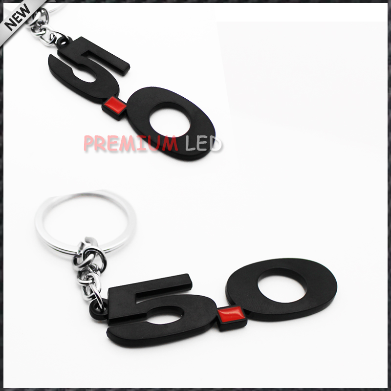 1pc black Chrome Finish number 5.0 Key Chain Fob Ring Keychain For Mustang GT 500 Cobra