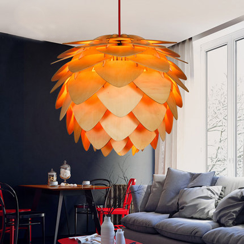 Nordic wooden pinecone creative pendant lamps for dining/living room lighting,dia 30/45/60CM wood lampshade modern light fixture pinecone lamp