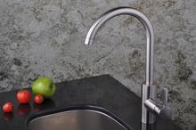 2015 Латуни Кисти Никель Кухня Раковина Кран Одной Ручкой Гусиная Шея Робине Кухня Смеситель Воды