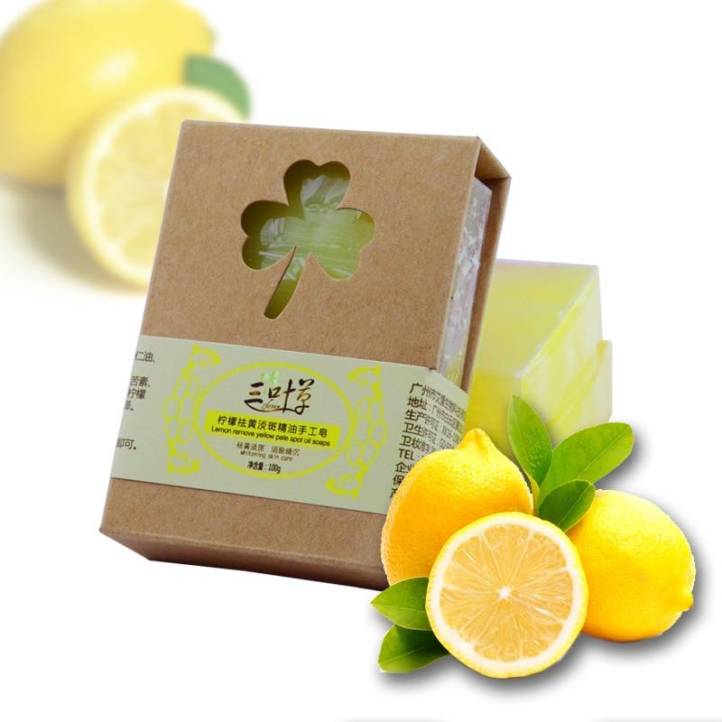 100g Natural Lemon Essential Oil Handmade Soap Condition Moisture Fresh Oil Control Facial Bath Soap Free Shipping
