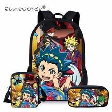 ELVISWORDS 3pc/set Beyblade Burst Teens School Backpack Book Bags Boys and Girls Schoolbags  Primary Students Mochila Satchel