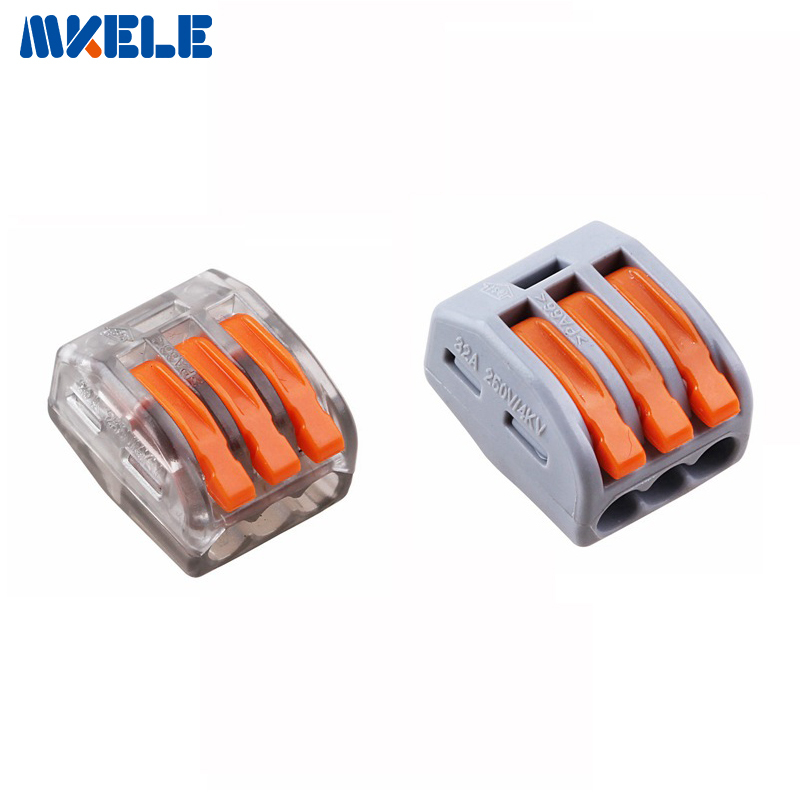 10pcs WAGO 222-413 Universal Compact Wire Wiring Connector 3 pin Conductor Terminal Block With Lever AWG 28-12