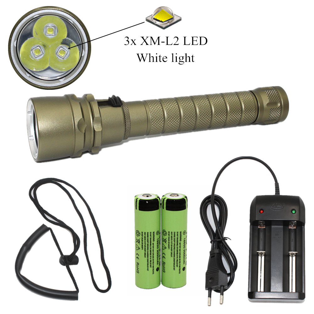 3000LM L2 LED Waterproof Scuba Diver Diving Flashlight Underwater Dive Torch Hunting Lamp + 18650 Battery + Charger 18000 lumens 9 l2 led diving flashlight waterproof lamp lamp work underwater torch diving light 4 18650 battery charger