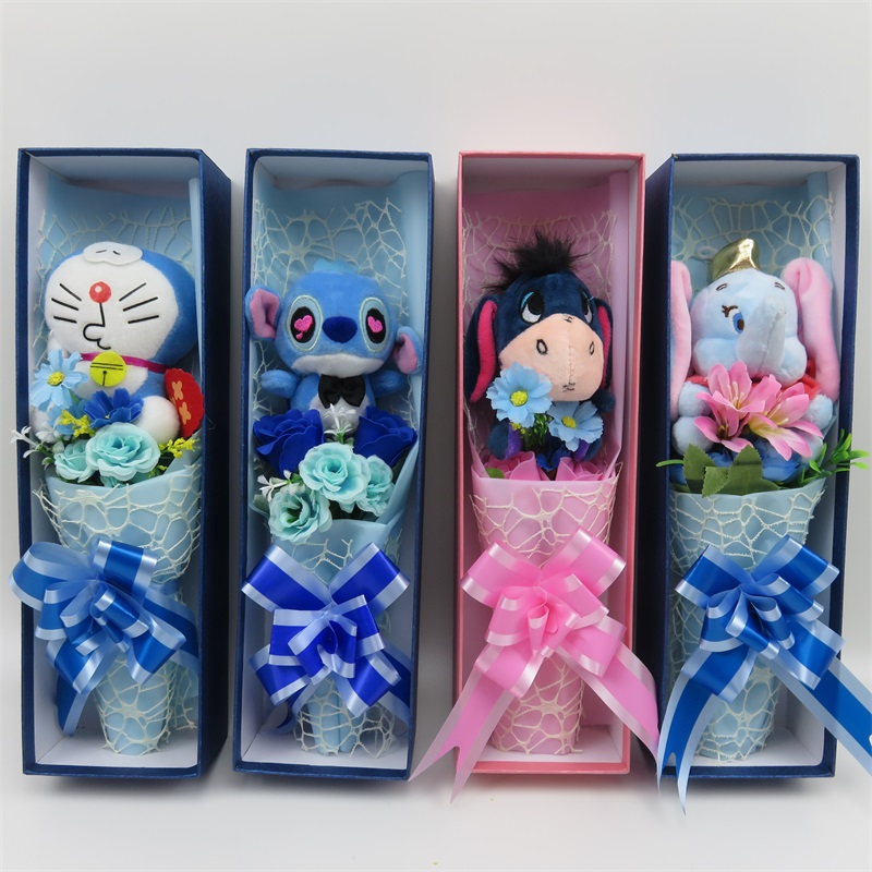 Handmade stitch cat doraemon plush toys small bouquet home decoration creative Valentines Mothers Day graduation giftsHandmade stitch cat doraemon plush toys small bouquet home decoration creative Valentines Mothers Day graduation gifts