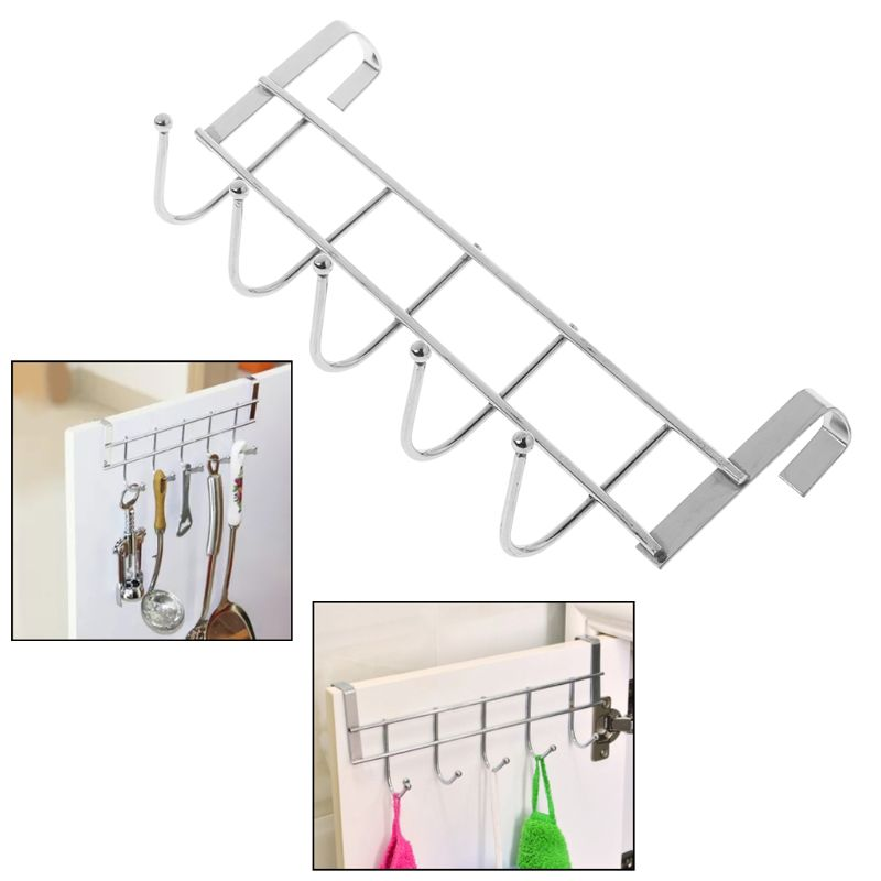 Hooks Shelf Over Door Clothing Hanger Rack Cabinet Door Loop Holder Shelf For Home Bathroom Kitchen Drip-Dry Bathroom Hardware