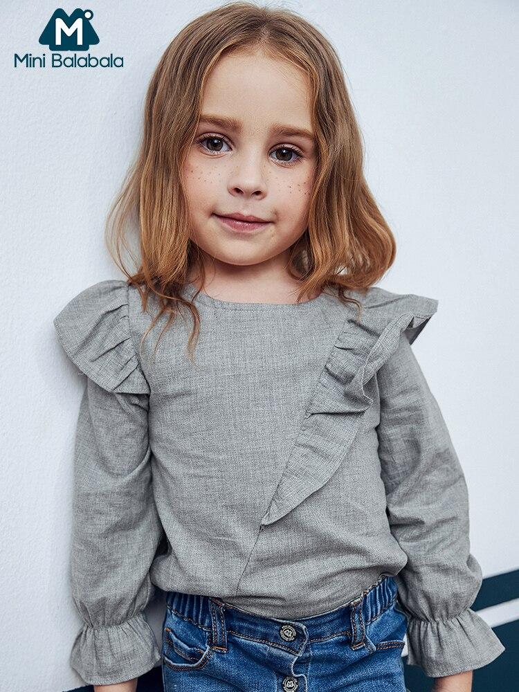Mini Balabala Kids Girls Flounce-trimmed   Blouse   Cotton Tops Children Toddler Girls Spring Autumn   shirt   Tees Clothes Clothing