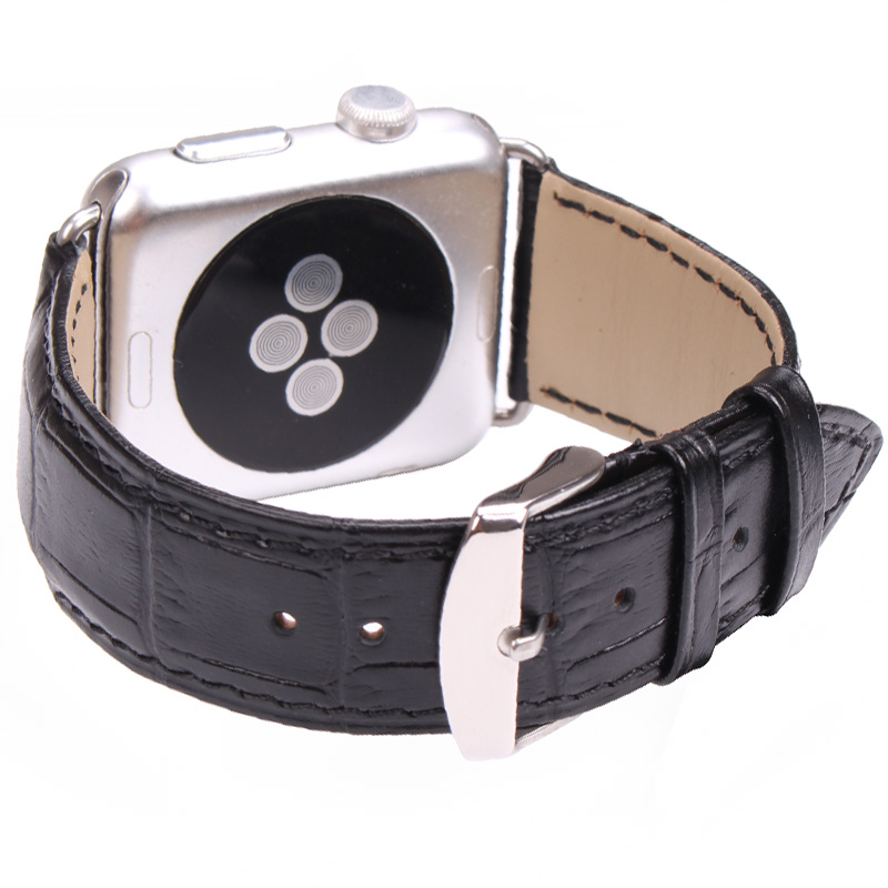 HENGRC Watchbands Black Brown For Apple Watch Band Strap 38mm 42mm Genuine Leather Crocodile Pattern Classic Buckle Iwatch Belt genuine leather classic buckle watch straps wrist band for apple watch 42mm red