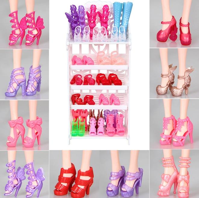 10 Pairs متنوعة موضة ملون مختلط نمط الصنادل أحذية عالية الكعب للملابس لطيف إكسسوارات دمي فستان هدية لعبة أطفال