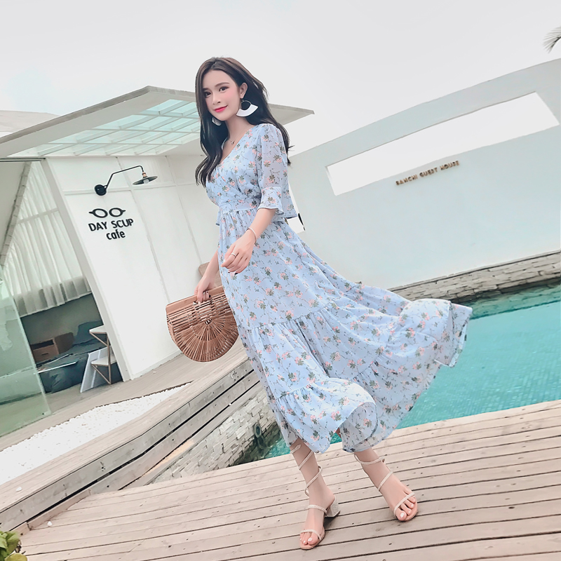 83f82d6676507 2018 Summer New Arrival Korean Style Women Dresses Fashion Flare Sleeve  Slim Sexy V Collar Empire Chiffon Dresses A Line D85812L-in Dresses from  Women's ...