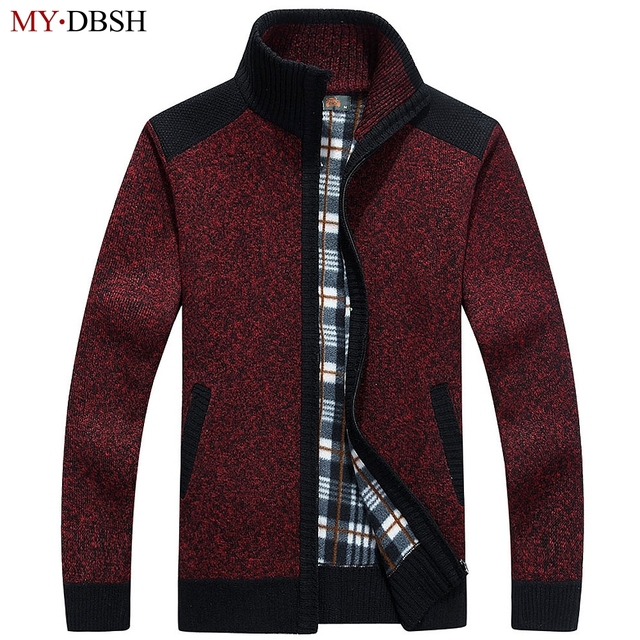 MYDBSH 2018 New Arrival Autumn Men's Cardigans Sweater Warm Winter Zipper Mens Sweaters Casual Knitwear Fleece Velvet Clothing