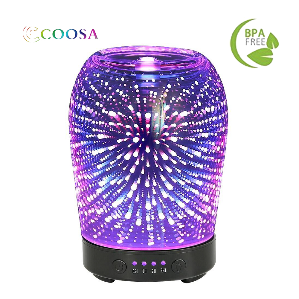 3D Aromatherapy Glass Essential Oil Diffuser COOSA 100ml Ultrasonic Aroma Diffuser Cool Mist Humidifier for Home Office Babyroom3D Aromatherapy Glass Essential Oil Diffuser COOSA 100ml Ultrasonic Aroma Diffuser Cool Mist Humidifier for Home Office Babyroom