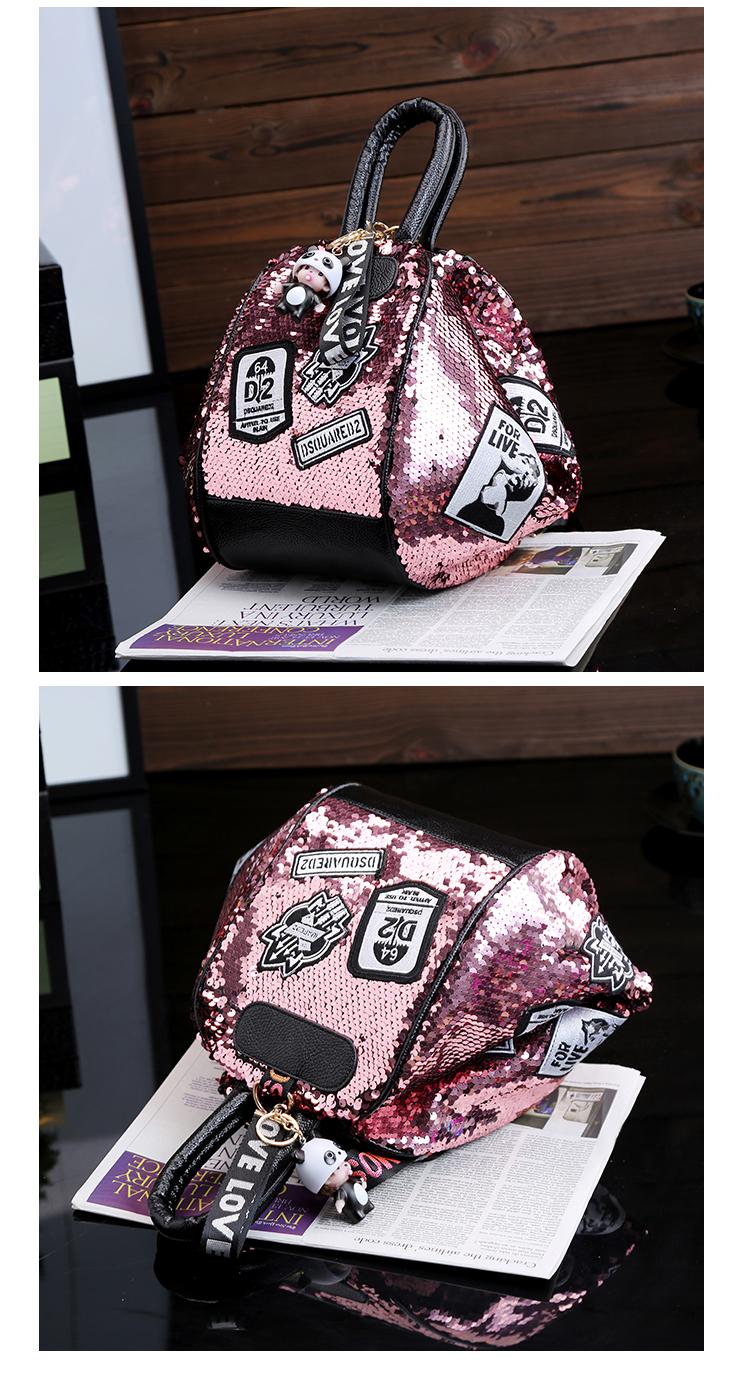 backpack women Fashion Women Bling Shiny Sequins Sparkling Shoulder Bags Larger Capacity Drawstring Bag backpack 92