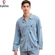 Пара пижамы Для женщин Демисезонный с длинным рукавом пижамы любителей Для мужчин пижамы Принт Хлопковая пижама комплект Для мужчин Для женщин L-XXXL SY835