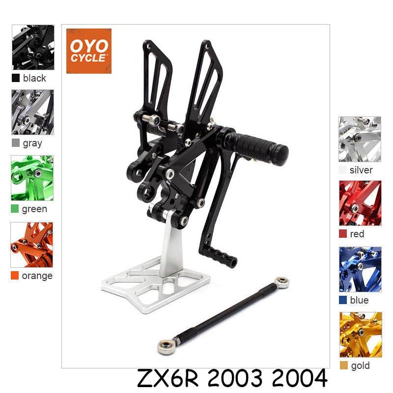 цена на For 2003-2004 Kawasaki Ninja ZX6R ZX636 ZX 6R CNC Aluminum Adjustable Rear Set Foot Pegs Pedal Footrest Rearset Motorcycle Parts
