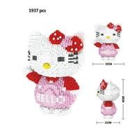 Classic cartoon image hello cat micro diamond building block kt kitty nanoblock assemble model bricks toys for girls gifts