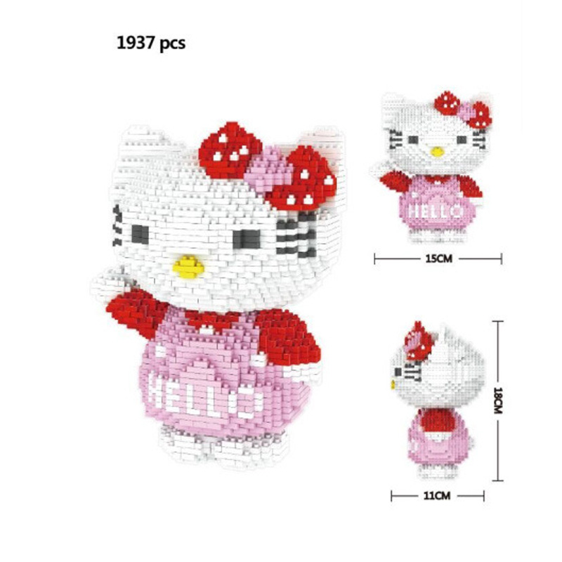 Classic cartoon image hello cat micro diamond building block kt kitty nanoblock assemble model bricks toys for girls gifts чашка hello kitty kt