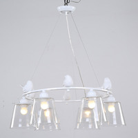 Modern Glass Lampshade Light Pendant Lighting Dining Room Living Room Suspension Lamp Resin Bird White Iron